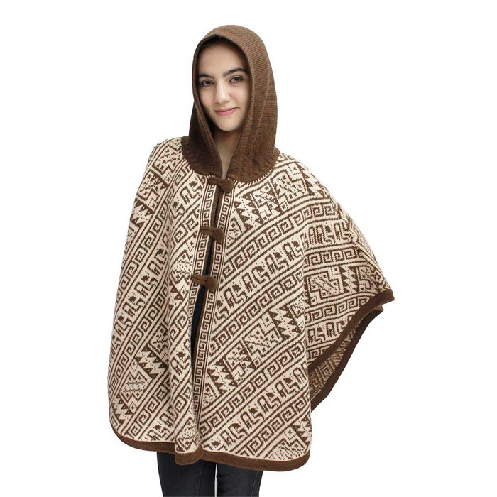 Hooded Alpaca Wool Womens Knit Cape One Size Brown & Beige