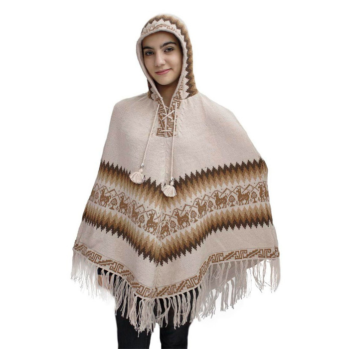 Hooded Little Llamas Alpaca Wool Womens Knit Long Poncho One Size Beige