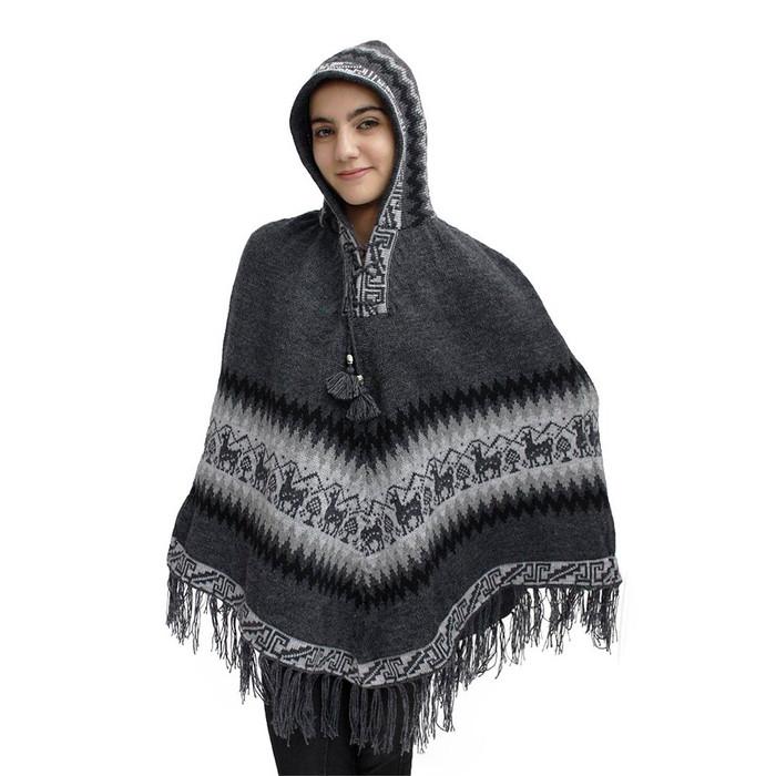 Hooded Little Llamas Alpaca Wool Womens Knit Long Poncho One Size Gray