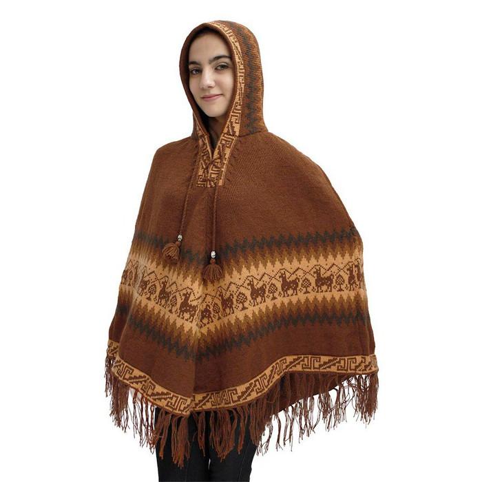 Hooded Little Llamas Alpaca Wool Womens Knit Long Poncho One Size Copper