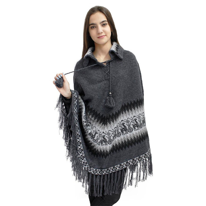 Little Llamas Alpaca Wool Knit Long Poncho With Collar One Size Gray