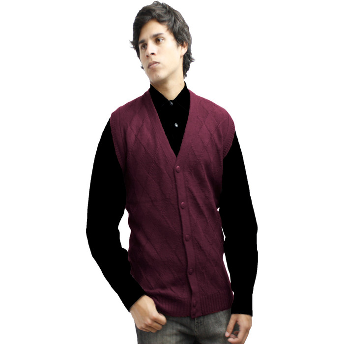 Mens Soft Alpaca Wool Knitted V Neck Sweater Button Down Golf Vest Diamond Design