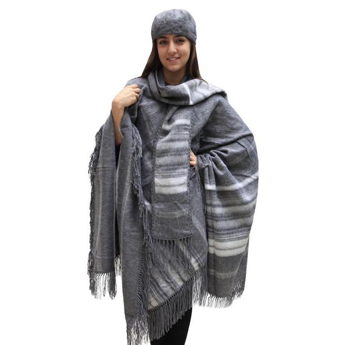 Fringed Alpaca Wool Woven Poncho with Matching Scarf & Beret Gray One SZ