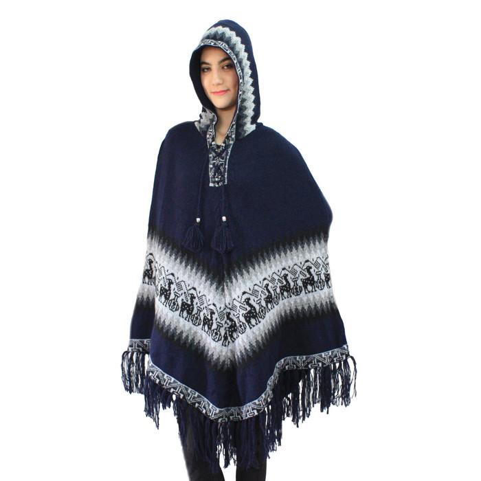 Hooded Little Llamas Alpaca Wool Womens Knit Long Poncho One Size Navy Blue