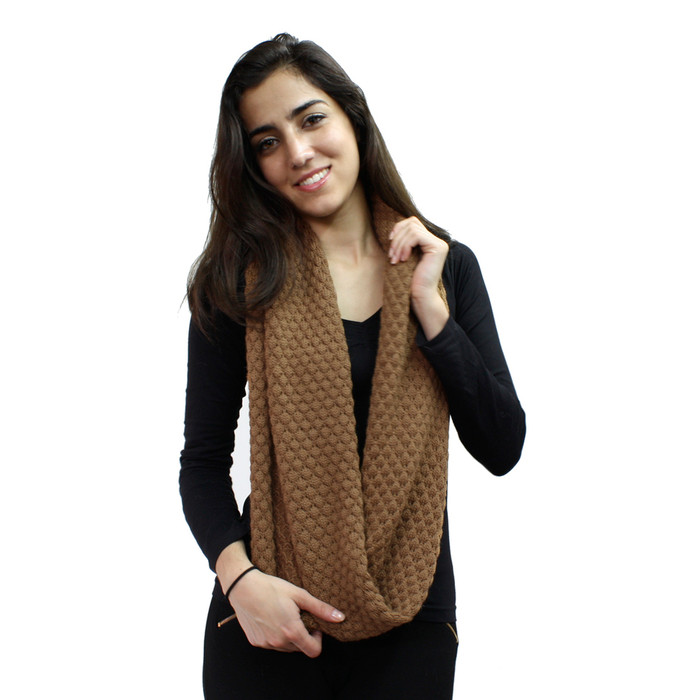 Womens Superfine Alpaca Merino Wool Honeycomb Infinity Scarf Solid Color