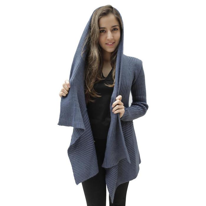 Women's Alpaca Wool Coat SZ M Steel Blue