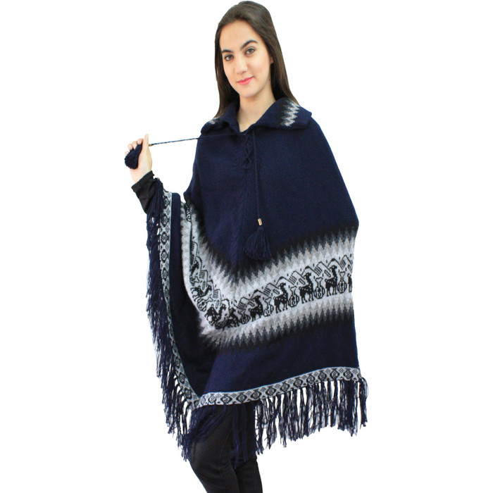Little Llamas Alpaca Wool Knit Long Poncho With Collar One Size Navy Blue