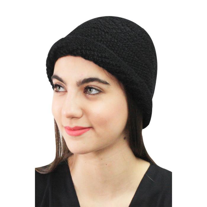 Superfine Hand Knitted Alpaca Wool Hat Black (65M-033-500)
