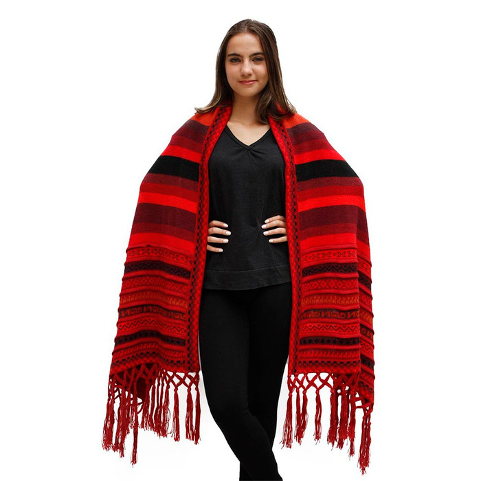 Superfine Alpaca Wool Handmade Knitted Andean Stripes Shawl Wrap