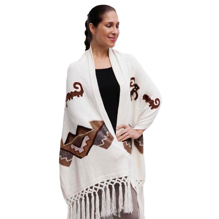 Superfine Alpaca Wool Intarsia Nazca Lines Handmade Shawl Wrap