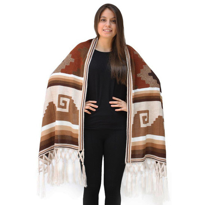 Superfine Alpaca Wool Handmade Knitted Wari Shawl Wrap