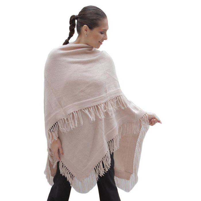 Knitted Soft Alpaca Wool Ruana Cape Wrap