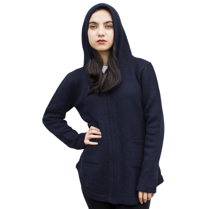 Womens Hooded Alpaca Wool Shaped Jacket SZ L Navy Blue (14M-019-838L)