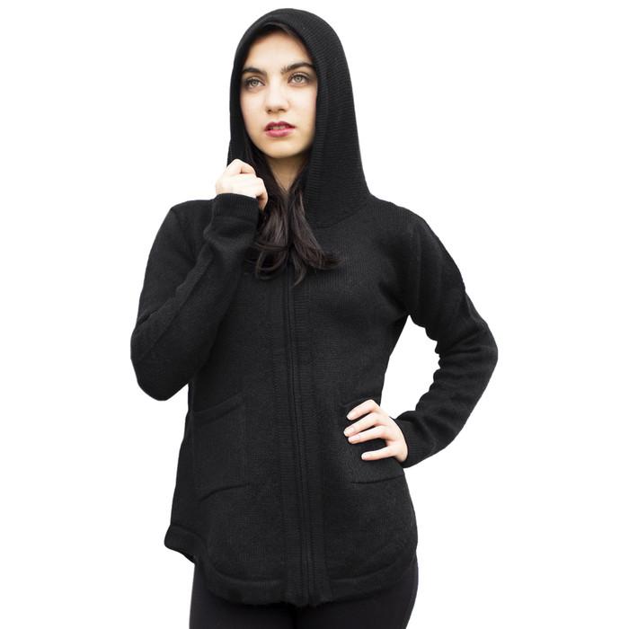 Womens Hooded Alpaca Wool Shaped Jacket SZ L Black