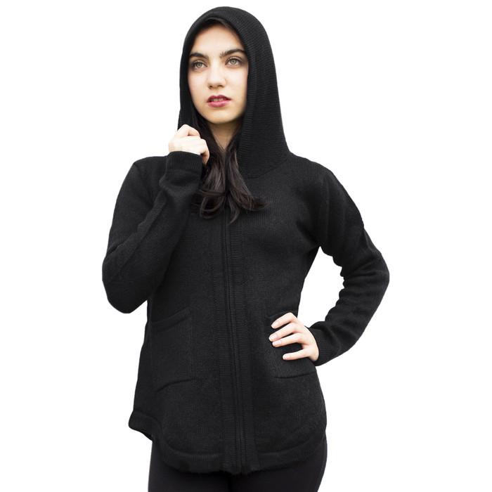 Womens Hooded Alpaca Wool Shaped Jacket SZ M Black (14M-033-500M)