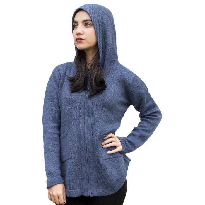 Womens Hooded Alpaca Wool Shaped Jacket SZ XXL Steel Blue