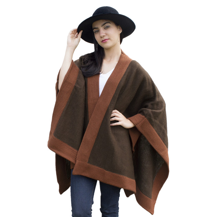 Womens Knitted Soft Alpaca Wool Ruana Cape Wrap - Matching Border Design