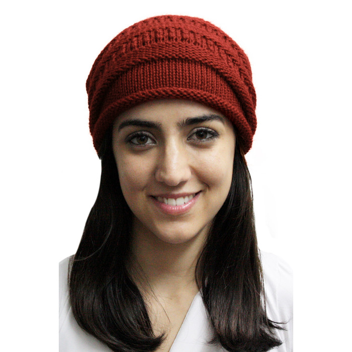 Superfine Alpaca Wool Knitted Long Beanie Hat Red (65K-035-842)