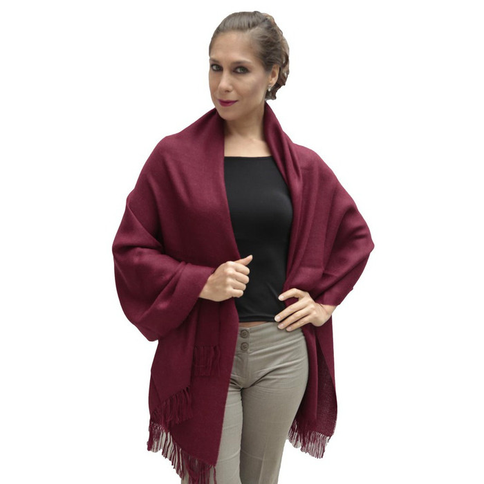 Women's Superfine 100% Baby Alpaca Wool Woven Shawl Wrap