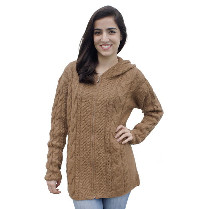 Womens Superfine Alpaca Wool Hand Knitted Hooded Cable Jacket Size XL Camel (14N-012-205XL)