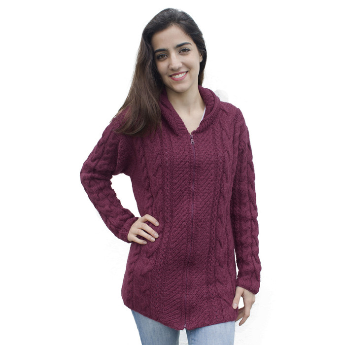 Womens Superfine Alpaca Wool Hand Knitted Hooded Cable Jacket Size L Burgundy (14N-015-843L)