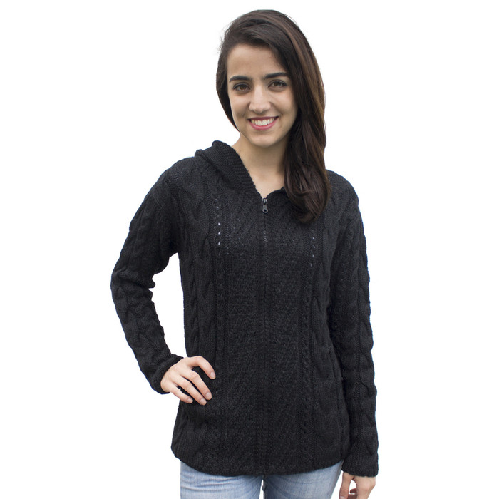 Womens Superfine Alpaca Wool Hand Knitted Hooded Cable Jacket Size L Black