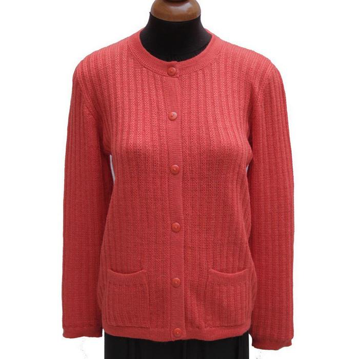 Womens Alpaca Wool Ribbed Cardigan Sweater Orange SZ M