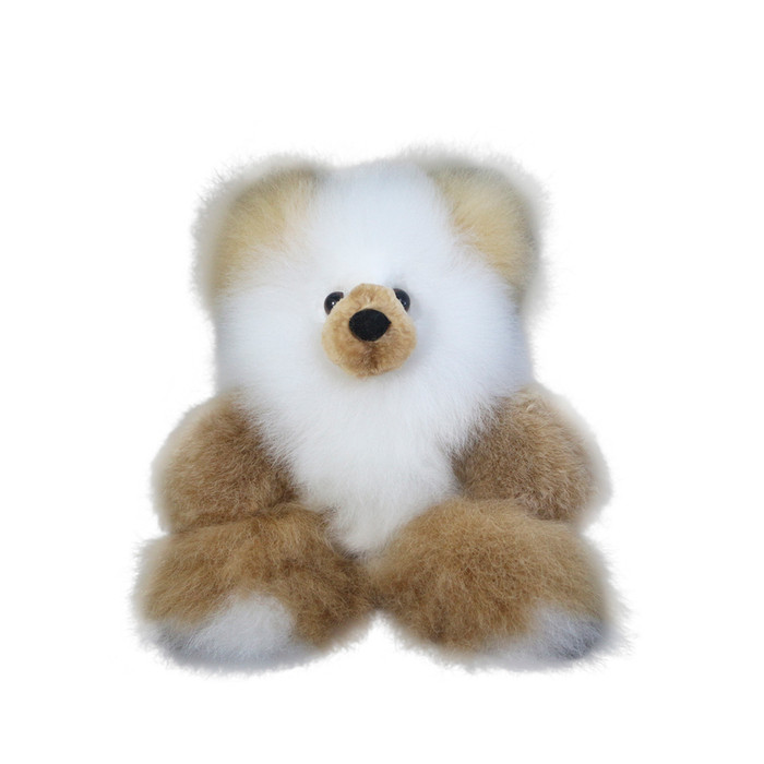 "Superfine 100% Baby Alpaca Fur Stuffed Artist Teddy Bear 11"" Beige/Ivory (22B-100-007)"