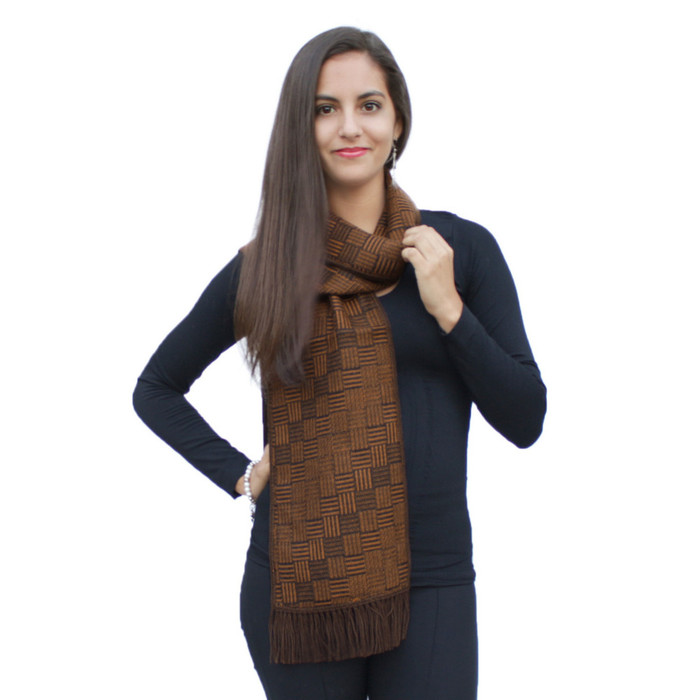 Superfine Reversible Woven Alpaca Wool Florian Scarf - Interlaced Design