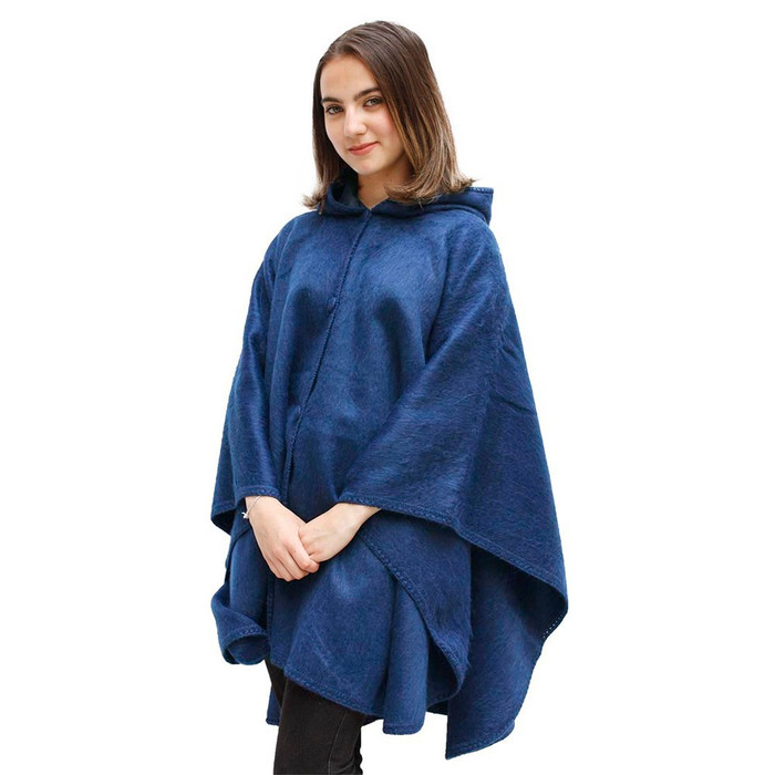 Hooded Short Alpaca Wool Cape Solid Colors One Size