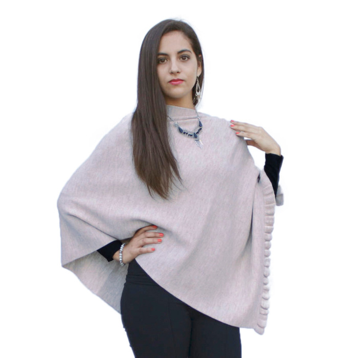 Womens Superfine Alpaca Wool Poncho Shawl Pashmina - Special Shape