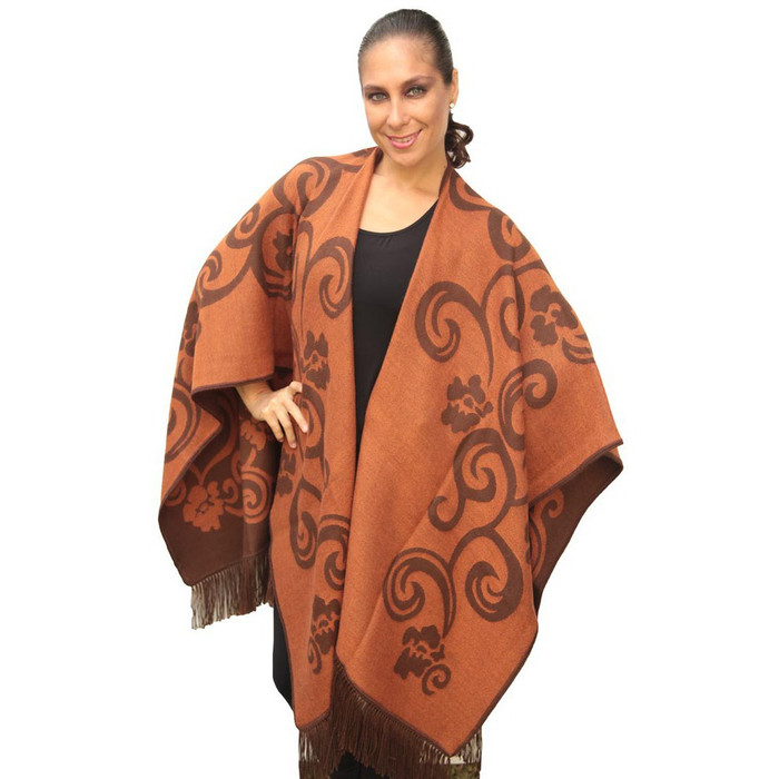 Superfine Reversible Woven Alpaca Wool Cape Ruana Poncho Wrap One Size
