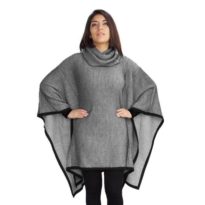 Womens Superfine Alpaca Wool Knitted Turtleneck Poncho Wrap Edge Design