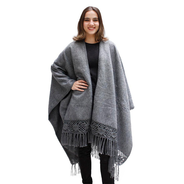 Womens Woven Alpaca Ruana Cape Rose Crochet Edge One Size