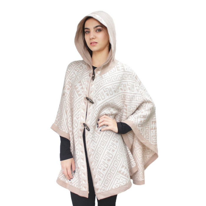 Women's Alpaca Wool Hooded Knitted Yarn Cape Cloak Poncho With Wooden Buttons