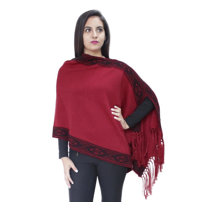 Women's 100% Baby Alpaca Wool Knitted Fringed Shawl Poncho Cape Wrap
