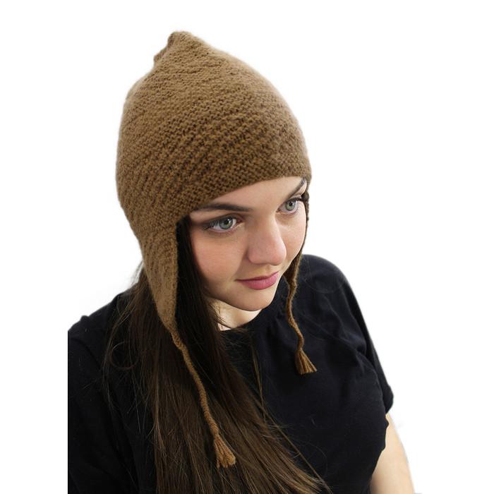 Unisex Superfine 100% Alpaca Wool Handmade Solid Color Chullo Ski Hat Beanie