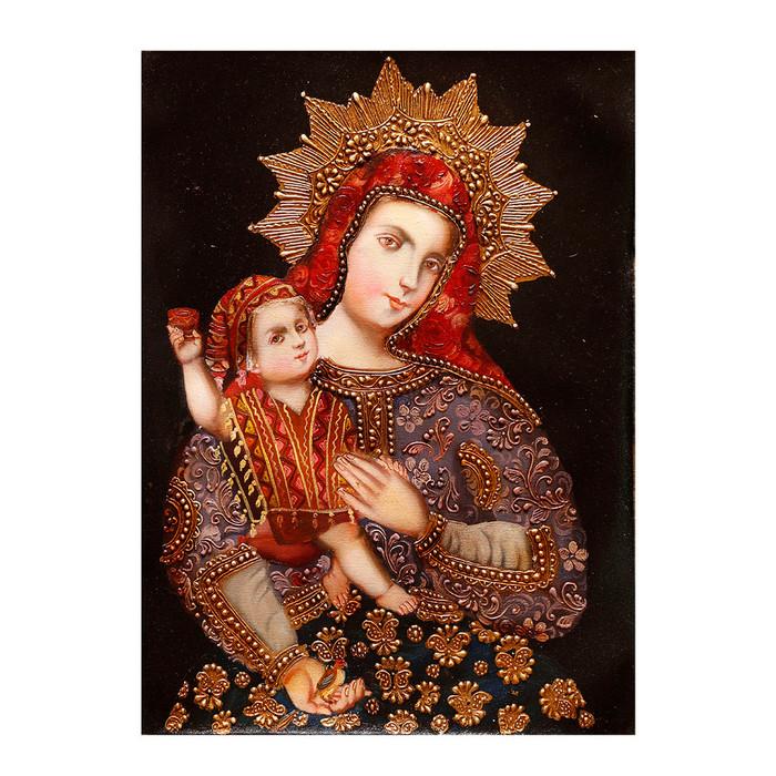 "Madonna And Child Original Colonial Cuzco Peru Folk Art Oil Painting On Canvas  16"" x 12"""