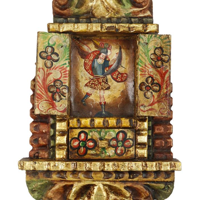 """Archangel Michael Peru Retablo Folk Art Painting Handcarved Wood Altarpiece 11.5""""H x 7.5""""W (4379)"""
