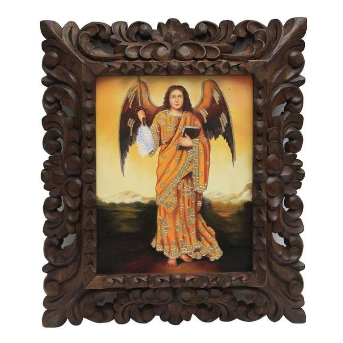 """Archangel Jofiel Framed Colonial Cuzco Peru Oil Painting On Canvas Handcarved   15""""H x 13""""W"""