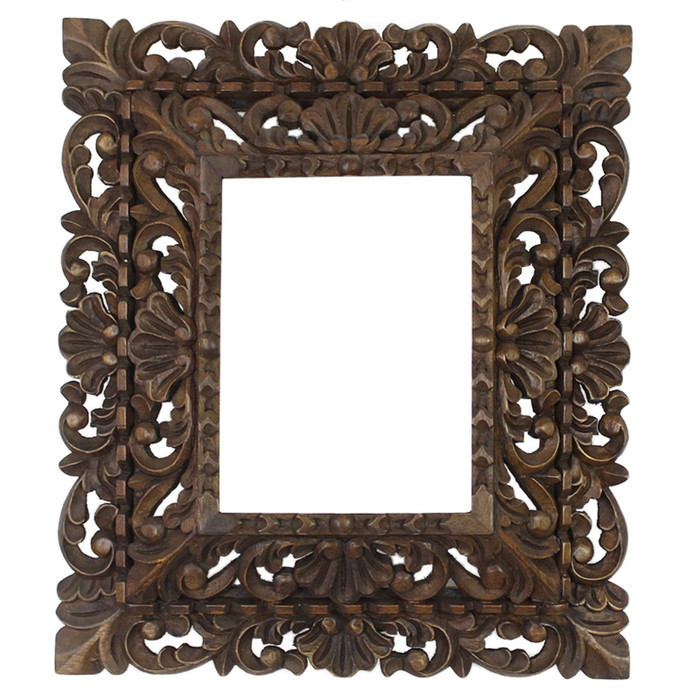 "Cedar Wood Frame Double Box Handmade Handcarved Design -15""H x 13""W"