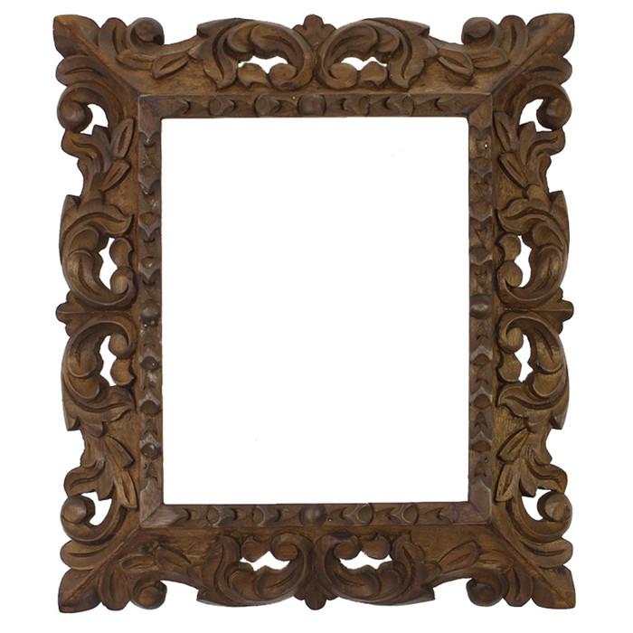 "Cedar Wood Frame Handmade Handcarved Design - 15""H x 13""W (87F-014-003)"