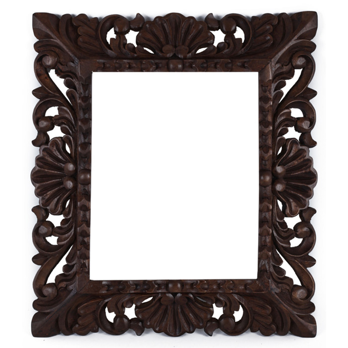 "Cedar Wood Frame Handmade Handcarved Design - 15""H x 13""W  (87A-014-003)"