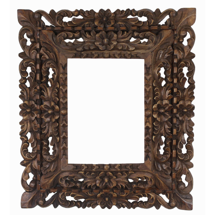 "Cedar Wood Frame Double Box Handmade Handcarved Design - 15""H x 13""W (87CA-014-002)"