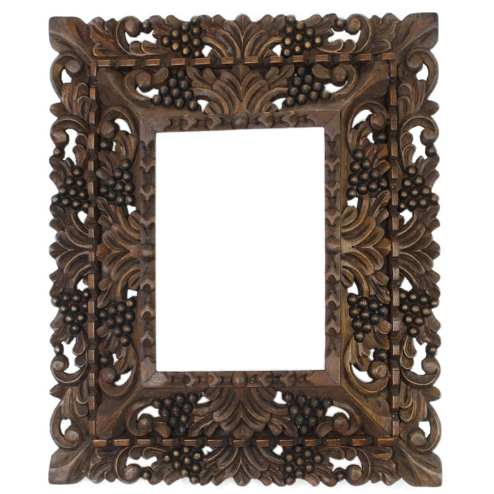 "Cedar Wood Frame Double Box Handmade Handcarved Design - 15""H x 13""W (87NA-014-002)"