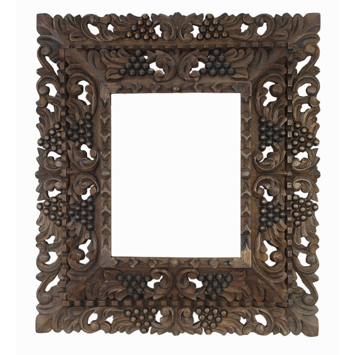 "Cedar Wood Frame Double Box Handmade Handcarved - 19""H x 17""W (87NA-014-003)"