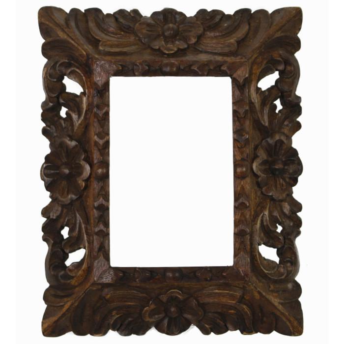 "Cedar Wood Frame Handmade Handcarved Design - 9.5""H x 8""W (87D-014-001)"