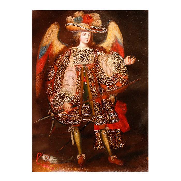 Archangel Raphael Medicine Of God Cuzco Peru Folk Art Oil Painting On Canvas