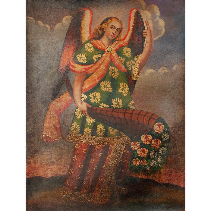 Archangel Gabriel Original Colonial Cuzco Peru Folk Art Oil Painting On Canvas