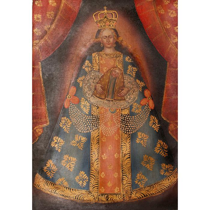 Madonna And Child Original Colonial Cuzco Peru Folk Art Oil Painting On Canvas